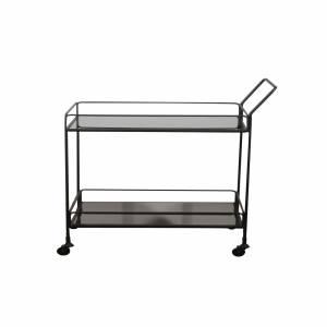 Desserte Bar Cart Charcoal Mirror Shelves