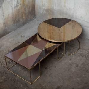 Table Basse Geometrique Bronze Coffee
