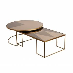 Table Ronde Geometrique Bronze Coffee